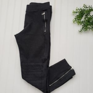 Gap Dark Gray Moto Zip Ankle Leggings sz Medium